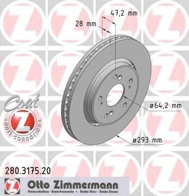 Zimmermann set 2 discuri frana fata pt honda cr-v 3 dupa 2007