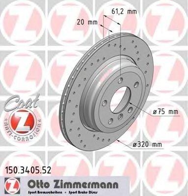Zimmermann sport set 2 discuri frana spate perforate 320mm pt bmw 5 e60, 6 e63